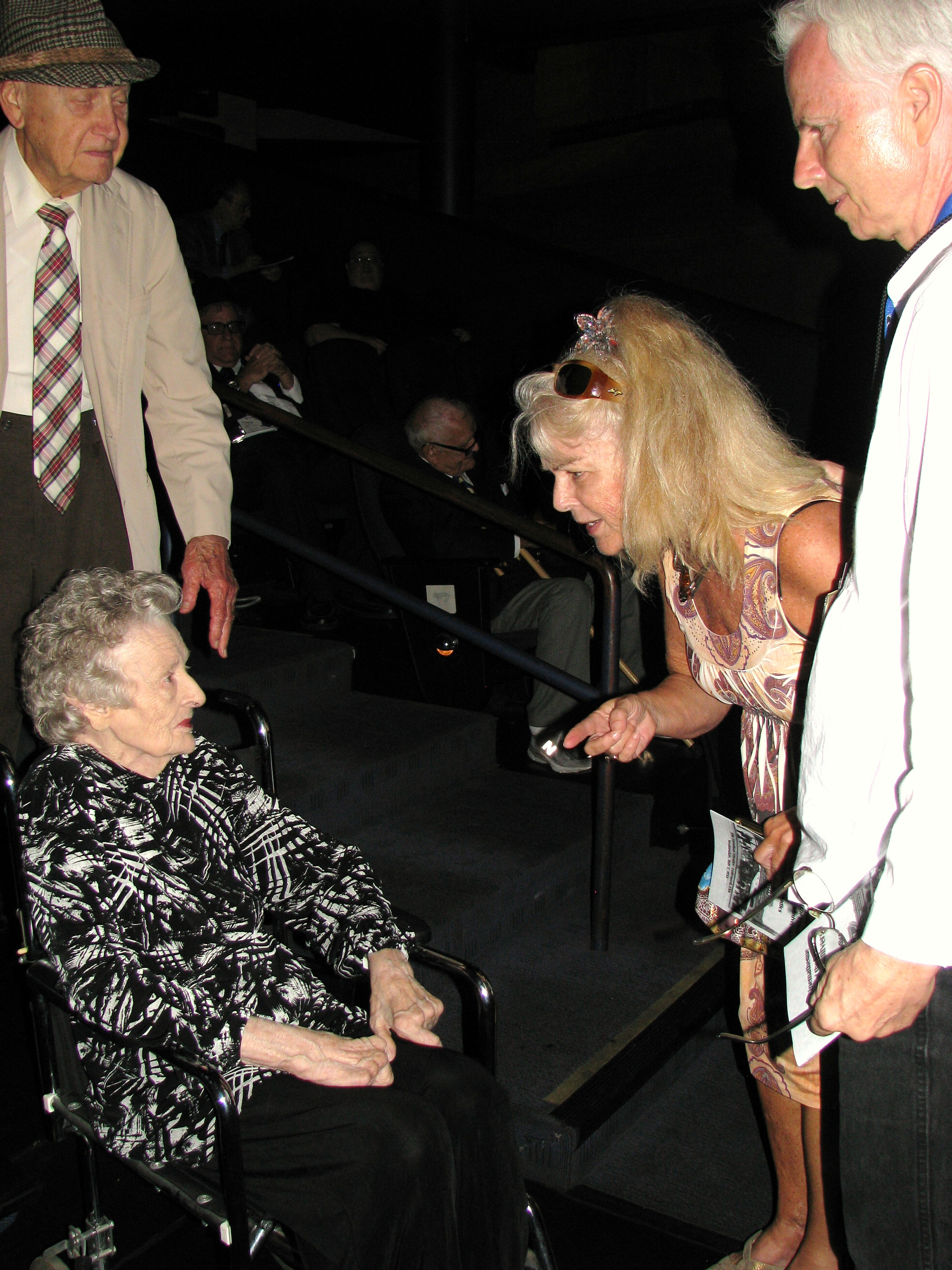 Hal Roach's daughter Jeannie greets Lois Laurel.