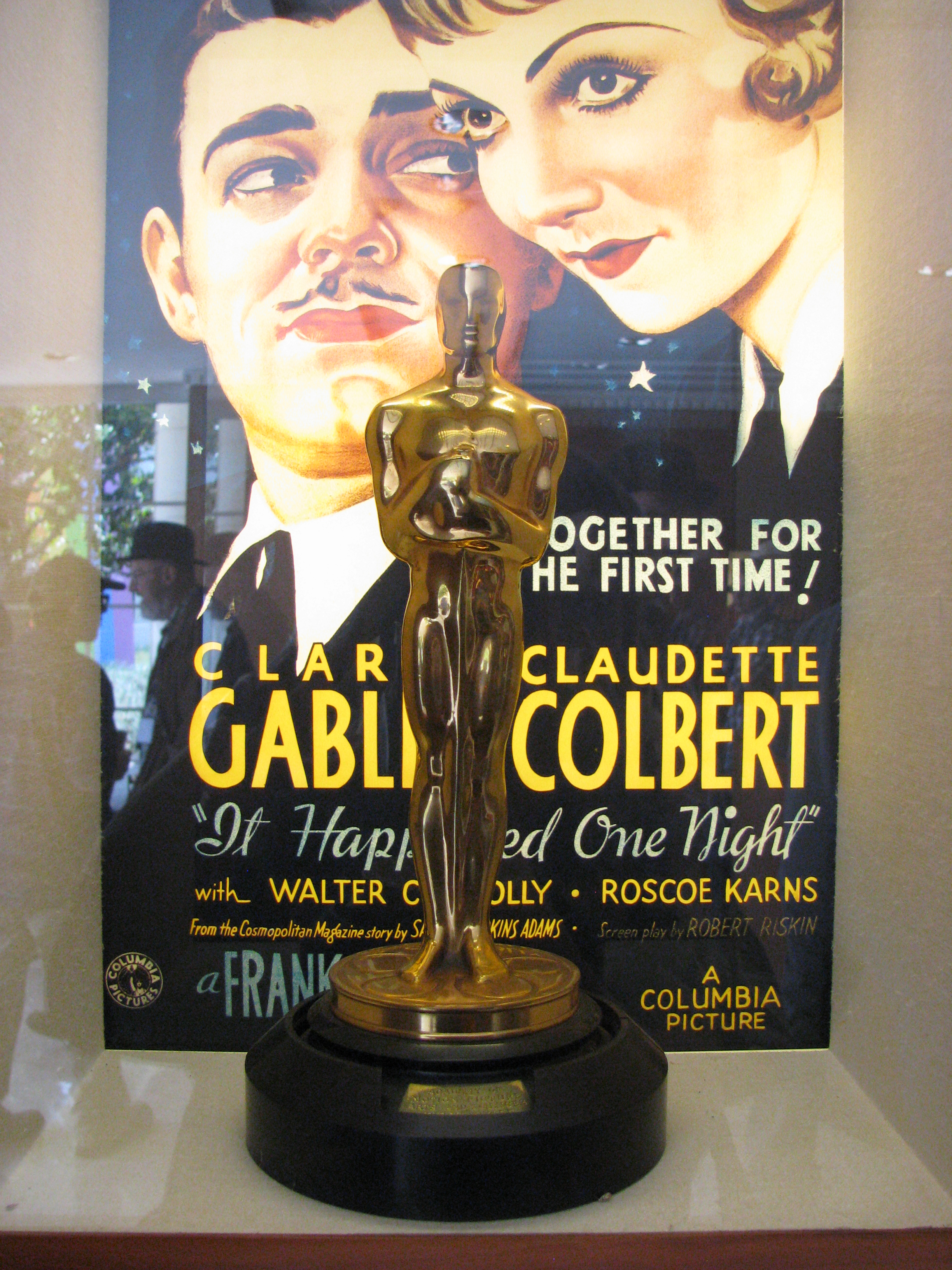 During the studio tour one could see Academy Awards that Columbia Studios won, this one for Best Picture for It Happened One Night.